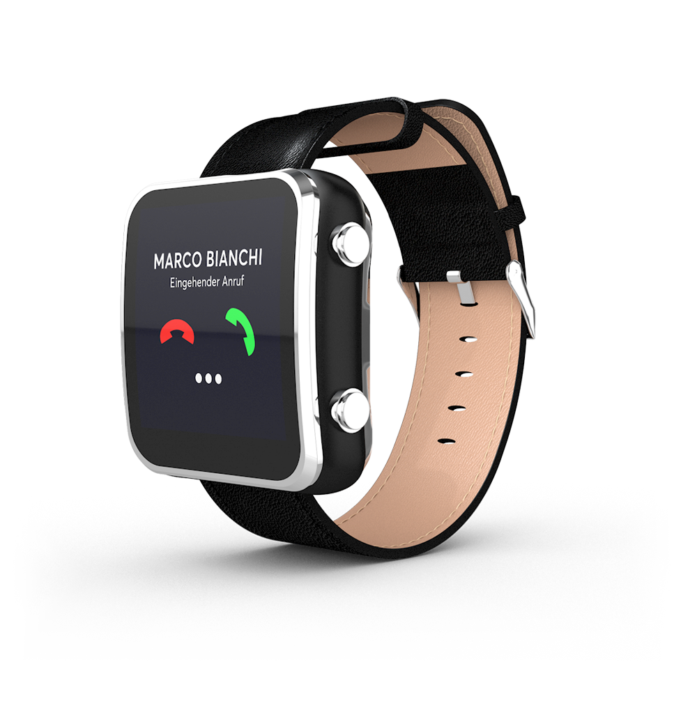 Notruf Uhr von aidwatch mit Smartwatch Funktionen und analogen Knöpfen.